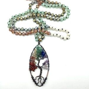 Chakra Tree of Life pendant on knotted necklace